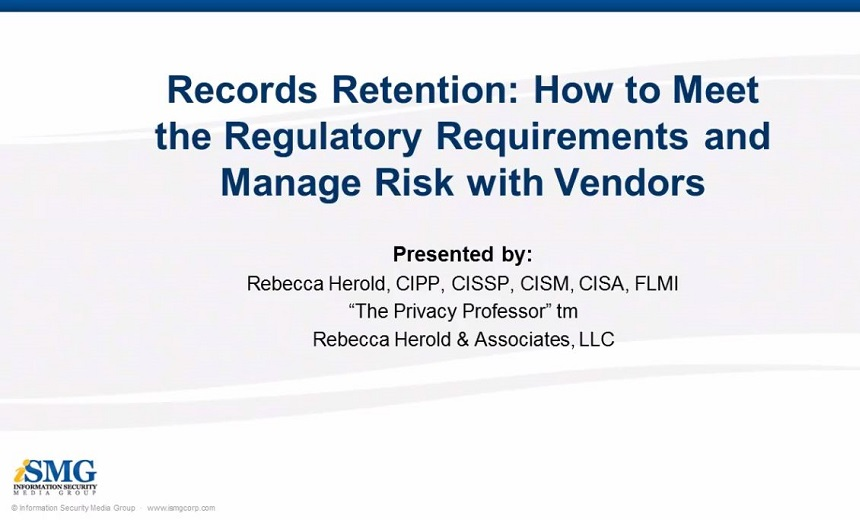 Records Retention: How to Meet the Regulatory Requirements and Manage Risk with Vendors
